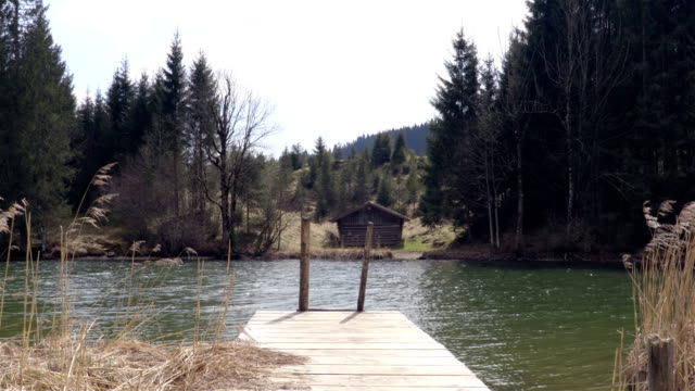 Small pier on the Lake with the house on the background video