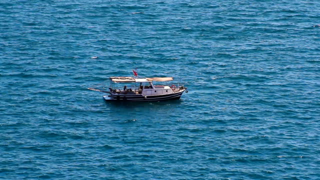 Small Recreational Fishing Boat with Turkish Flag video