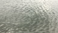 Small rock hits wavy flowing water surface video