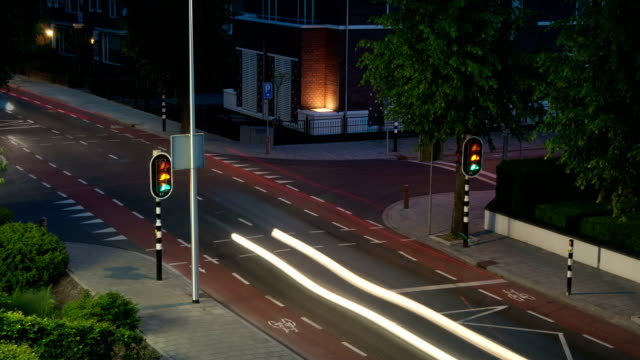 Small town intersection light streaks video