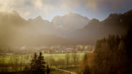 Small valley in the morning mist video