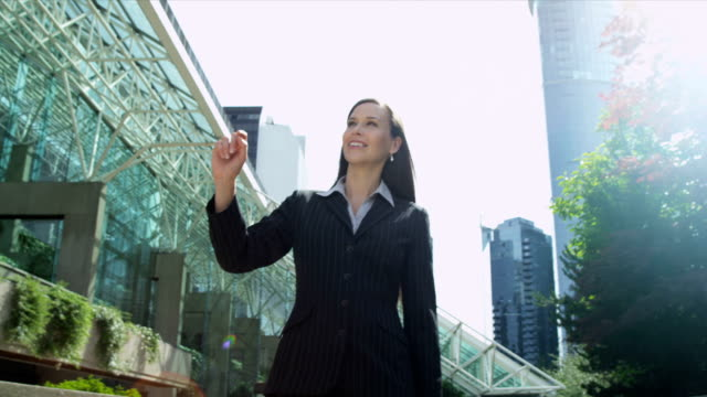 Smart Caucasian Advertising Female Outdoors Blank Touch Screen video
