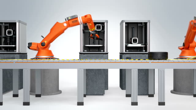 Smart factory concept with 3D printers and robotic arms in line. video