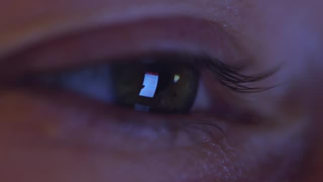 CU Smart phone reflected in an eye video
