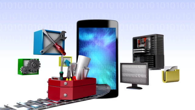Smart phone,app application tool for developer, programmers video