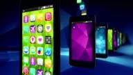 Smart phones load apps. Loop. video