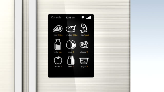 Smart refrigerator with LCD touch screen. video