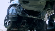 Smashed car bottom video
