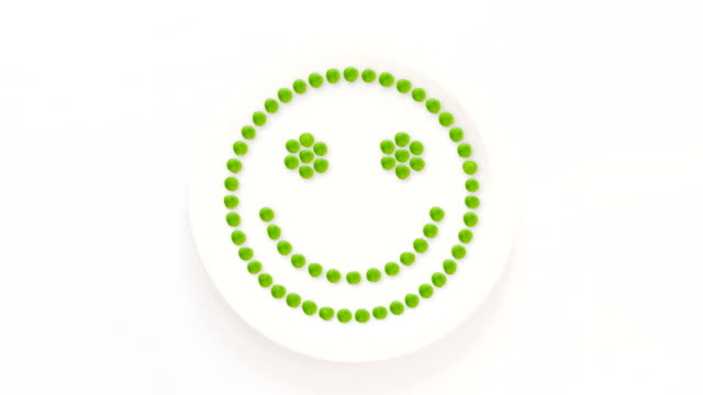 Smiley face made with peas video