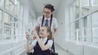 Smiley Schoolgirls Taking Selfies video