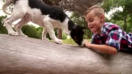 Smiling Boy lying on log in nature facing puppy dog video