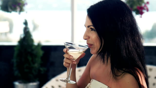 Smiling brunet woman with glass of wine video