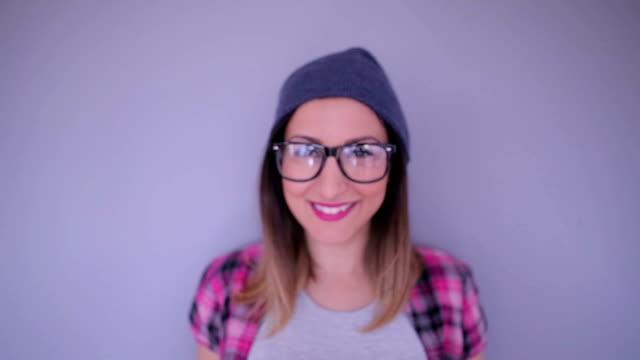 Smiling hipster girl video