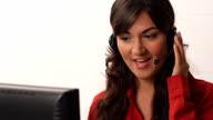Smiling latina customer service representative video