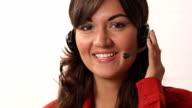 Smiling latina customer service worker video