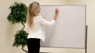 Smiling motivated female business trainer writing notes on a whiteboard video