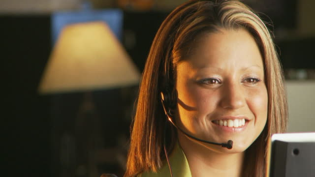 Smiling telephone operator video