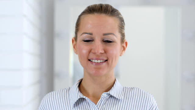 Smiling Woman Portrait in Office video