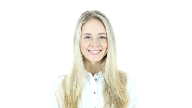 Smiling Young  Woman Portrait, White Background video