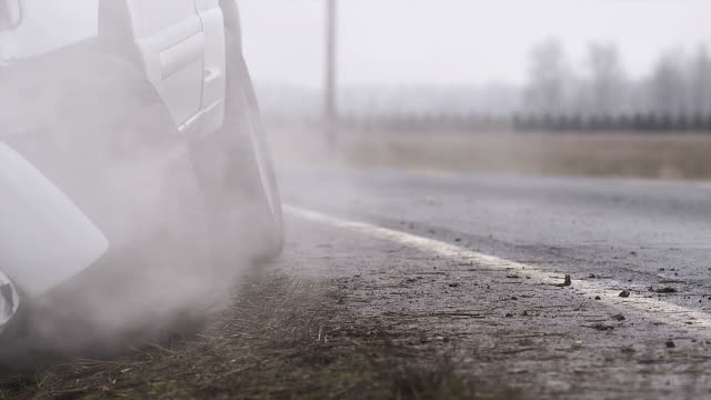 Smoke billows from auto accident video