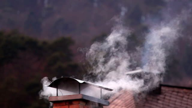 Smoke from a chimney in winter video