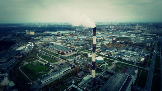 Smoke from pipe of thermal power station video