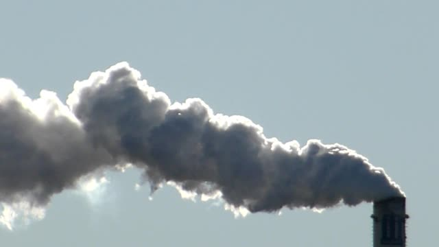 Smoke fumes from industrial chimney video