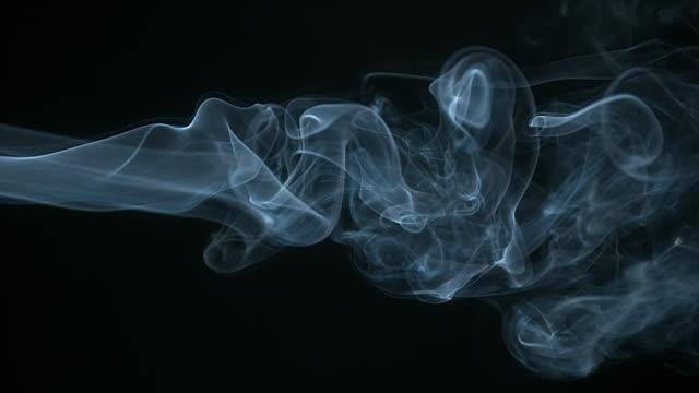 Smoke of Cigarette rising against Black Background, Slow Motion 4K video