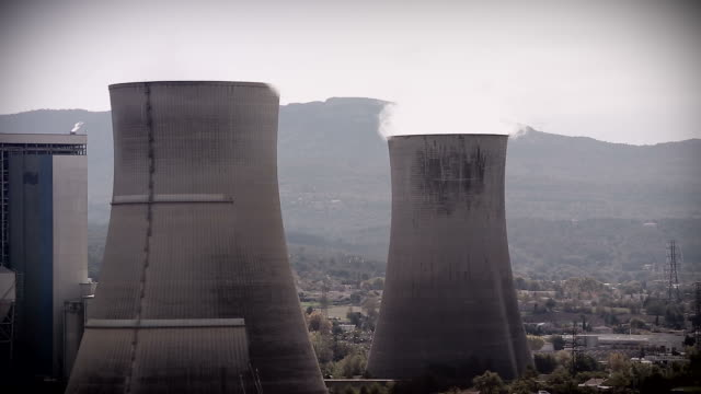 Smoke Pollution From Power Plant Smokestacks video