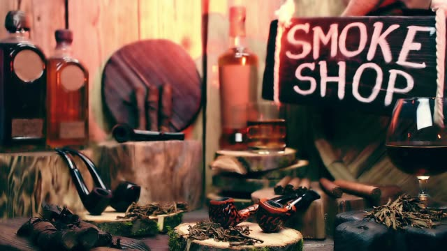Smoke shop showcase with moving light video