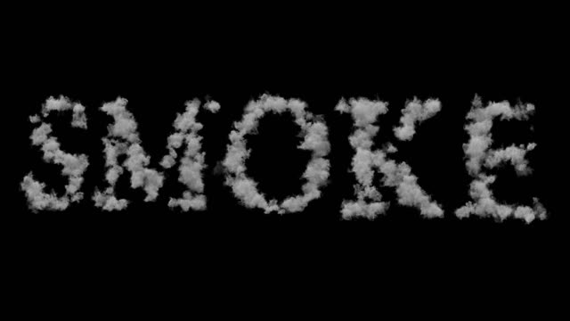 smoke word made by floating smoke steam through space on black background, danger health video