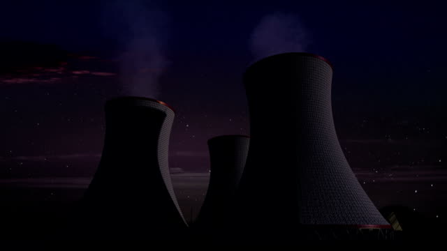 Smoked cooling tower of nuclear power plant, thermal power plant, night view image. video