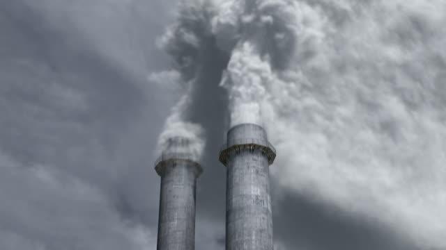 Smokestacks smoking heavy video