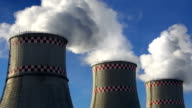 Smoking chimneys of power plant video