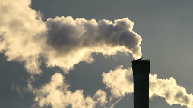 Smoking factory smoke stack video