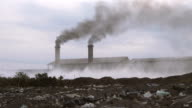 Smoking pipes of industrial factory and Fields garbage dump,the concept of environmental destruction video