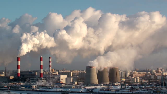 smoking power plant, pollution video