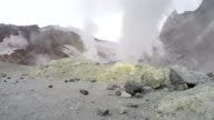 Smoking sulfuric fumarole in crater active volcano video