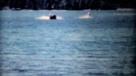 Smooth Ending To Water Skiing On Lake-1962 Vintage 8mm film video