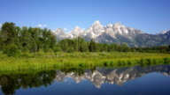 Smooth Water Reflecting Mountains Grand Teton National Park video