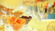 Snacks and drinks for the party. Dynamic change of focus. Close up video