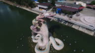 Snakes Statue, Aerial View, Spiral, Overhead, Speed Up, Slow Down video