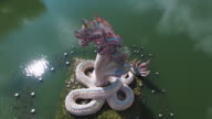 Snakes Statue, Dragon Aerial Side View, Partially Stationary video
