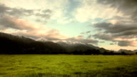 Snow capped mountains at dawn video