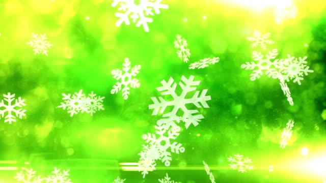 Snow crystals falling (green) - Loop video