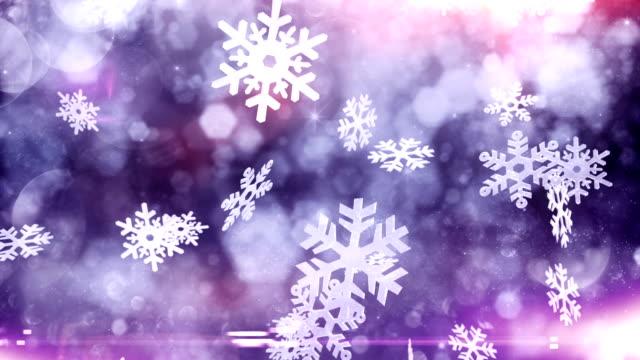 Snow crystals falling (purple) - Loop video