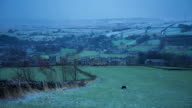 Snow Falling on Yorkshire Village and Farms - Time Lapse video