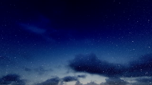 Snow Falling with Timelapse Clouds at Night video