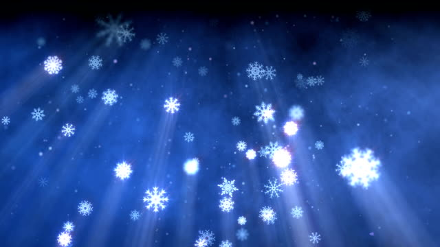 Snow flakes christmas background blue video
