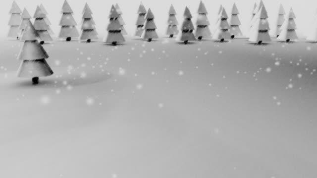 Snow forest, retro stile. Loop video